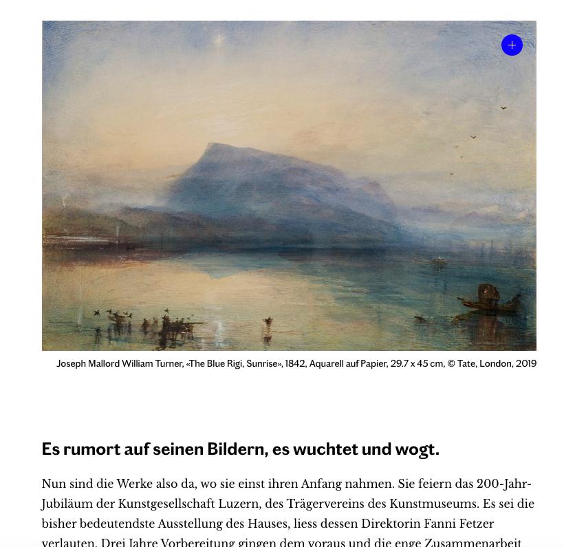 Ausschnitt aus dem Bericht zur Turner-Ausstellung in Luzern, Komplex, Halter AG.